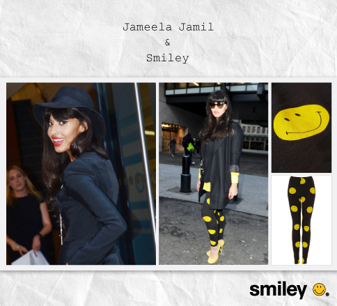 Jameela Jamil, BBC Radio 1 Presenter, wearing Smiley + TopShop Collection