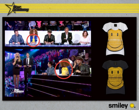 Smiley Deluxe Tshirt on Juliette Solal Star AcademyFrance Judge on NJR12